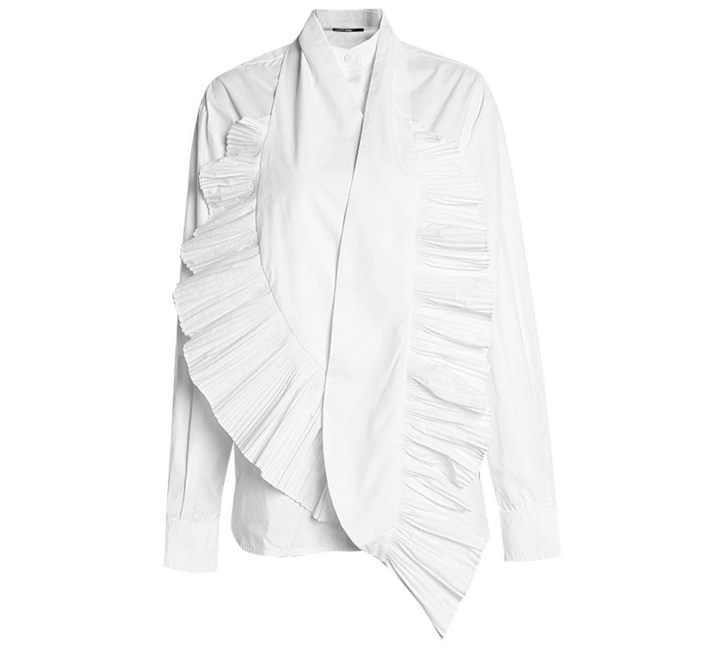 Pleated Scarf Poplin Shirt