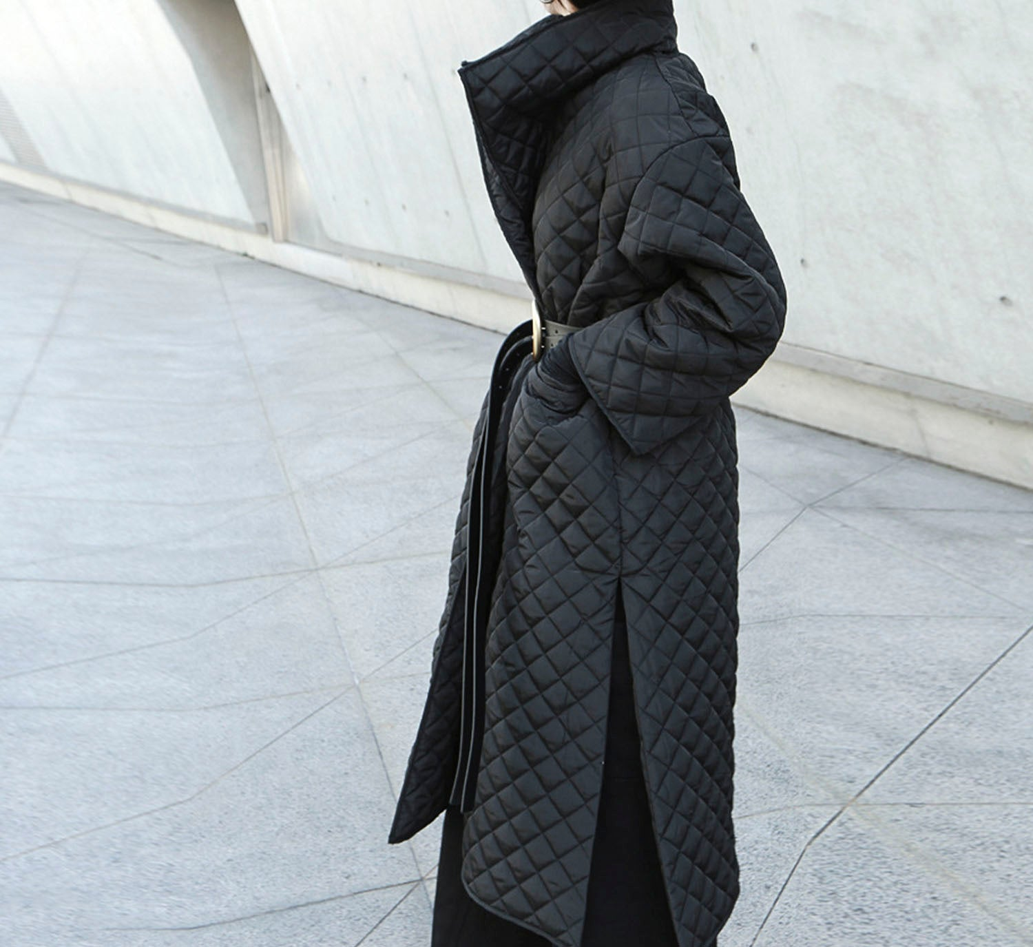 Quilted High Collar Coat