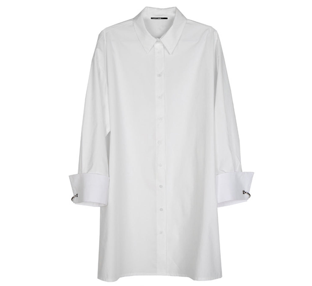 Cuffed Poplin Shirt Dress