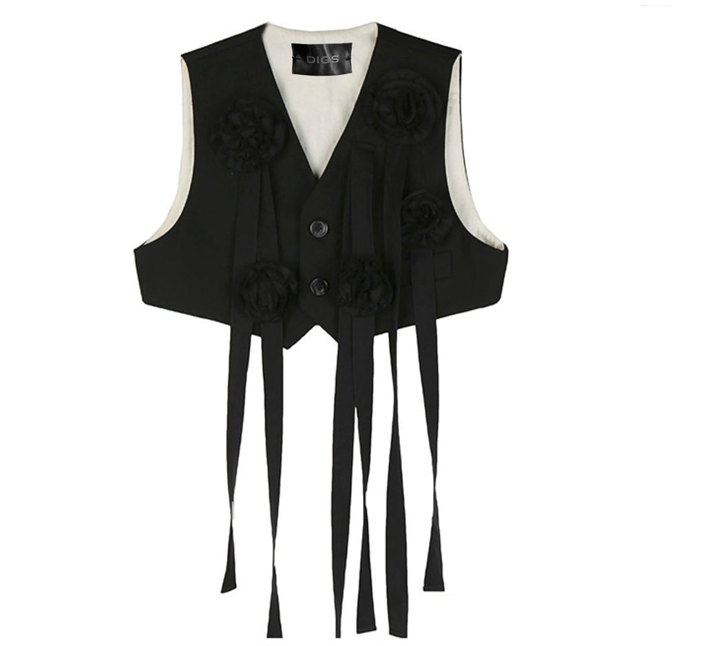 Rosebud Ribbon Crop Vest