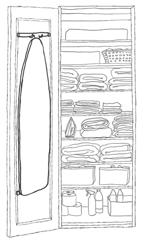 Organizing ironing board in closet illustration