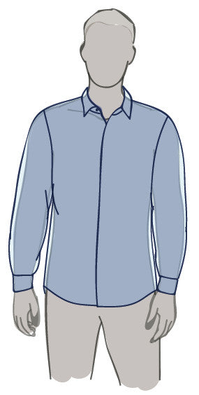 MEN'S PROPER FIT BUTTON-UP SHIRT FIT GUIDE ILLUSTRATION