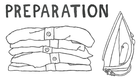Iron shirt preparation illustration