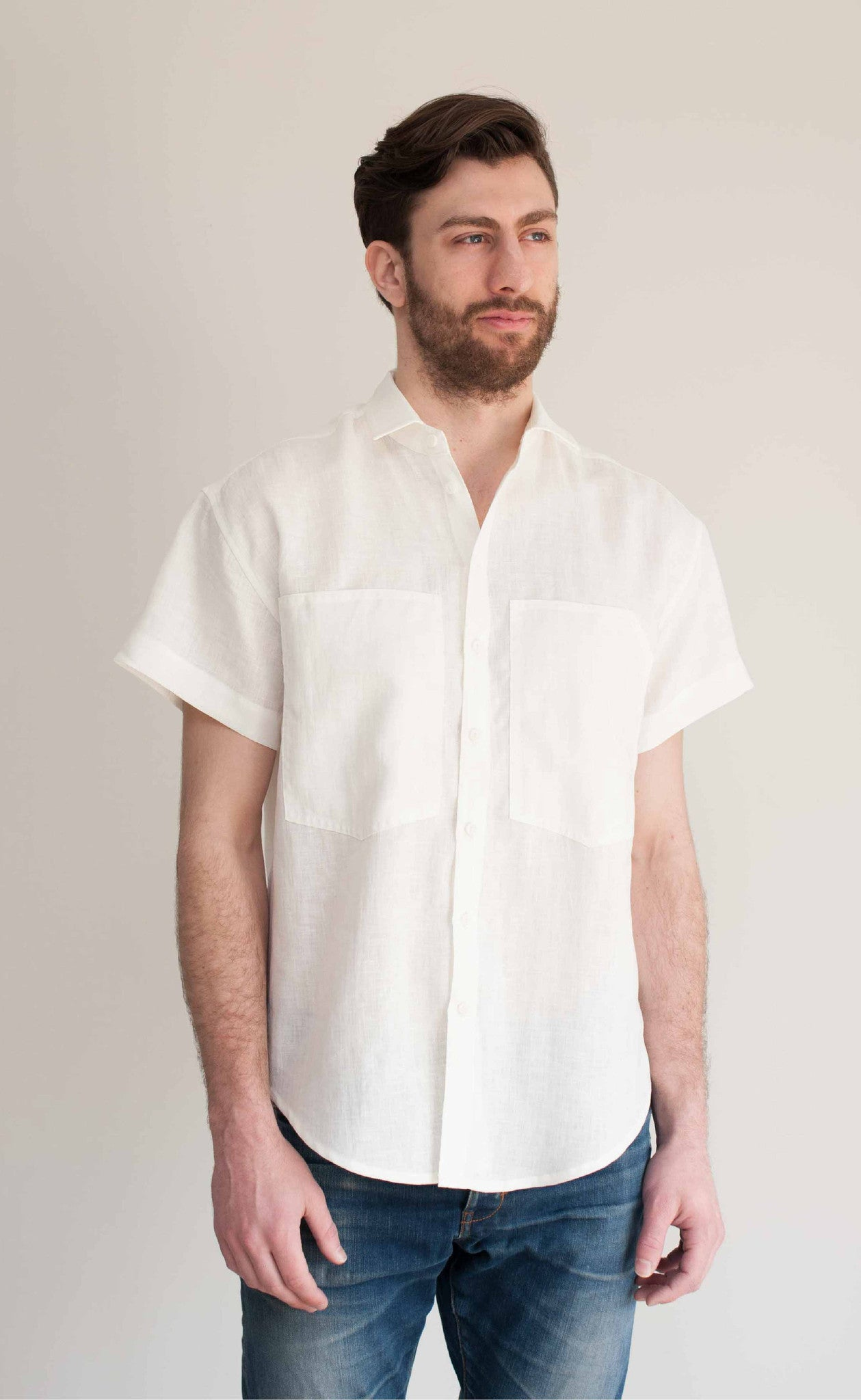 Front view of The Friend - Men's short sleeve linen button, proudly made in Canada