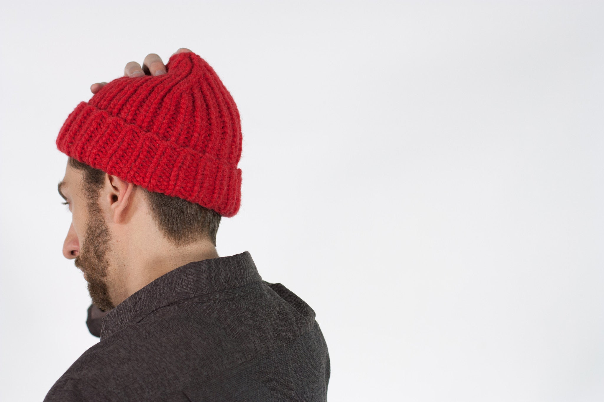 Chunky red toque beanie, pure wool, made in Canada.