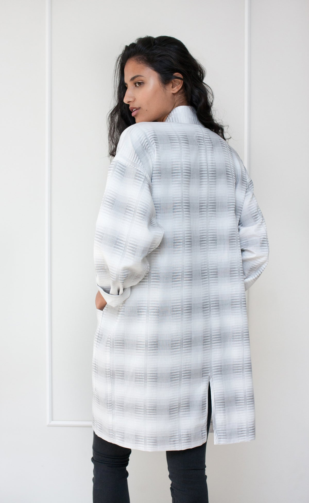 Grey Pattern Cotton Long Sleeve Duster Coat