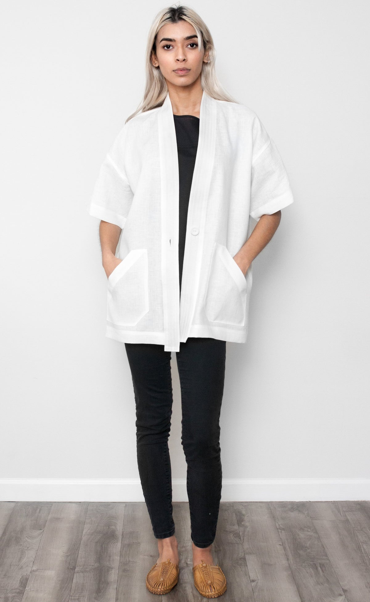 Cream Linen Short Sleeve Duster Coat