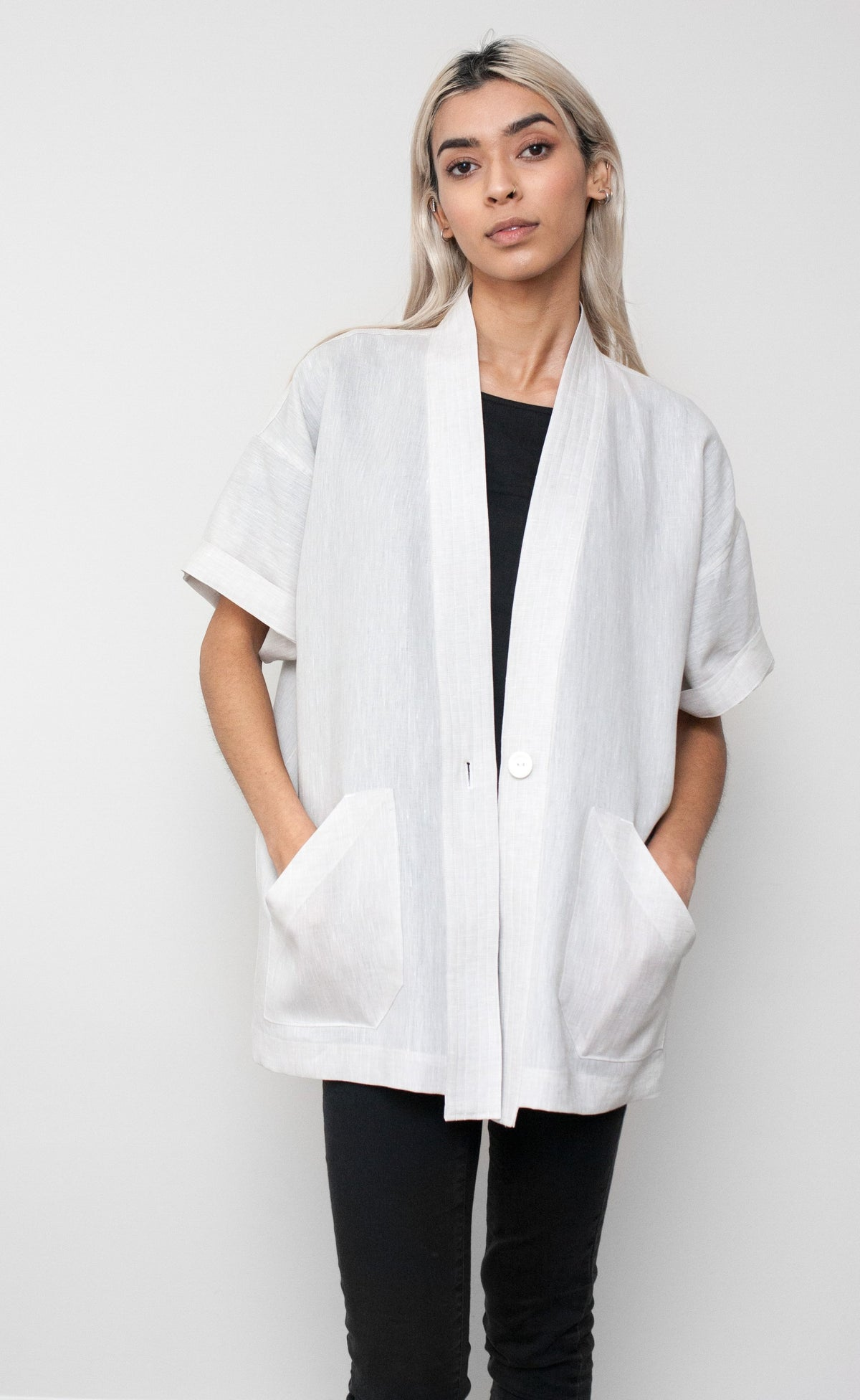 Light Grey Linen Short Sleeve Duster Coat