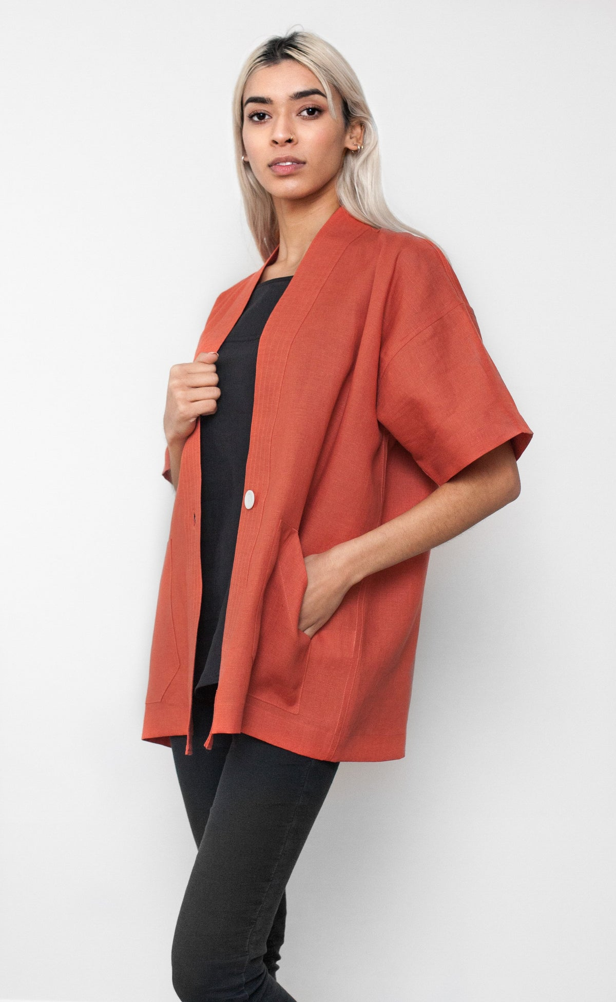 Terracotta Linen Short Sleeve Duster Coat