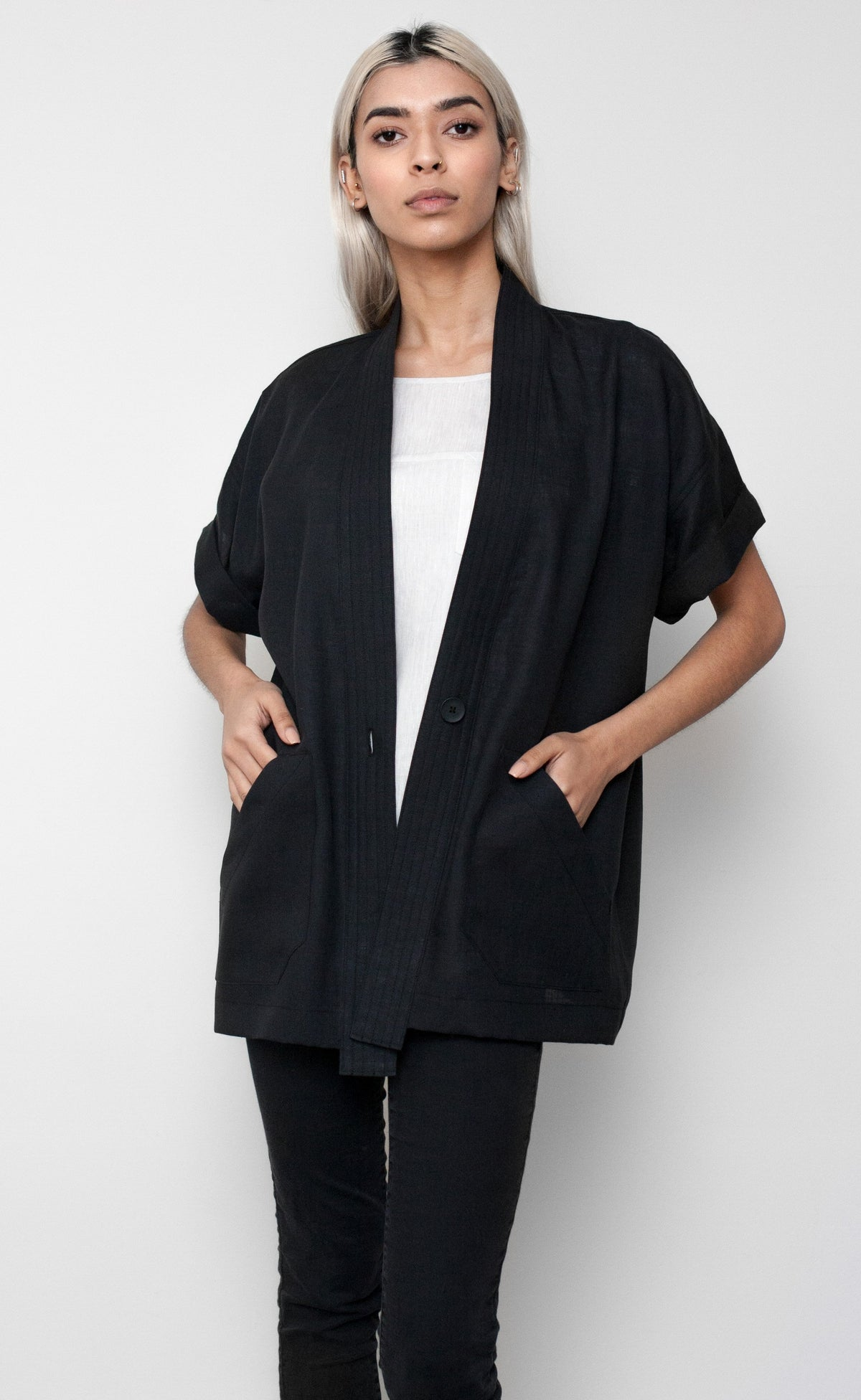 Black Linen Short Sleeve Duster Coat