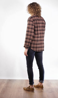 Back view of vintage inspired women's plaid shirt, made in Canada.