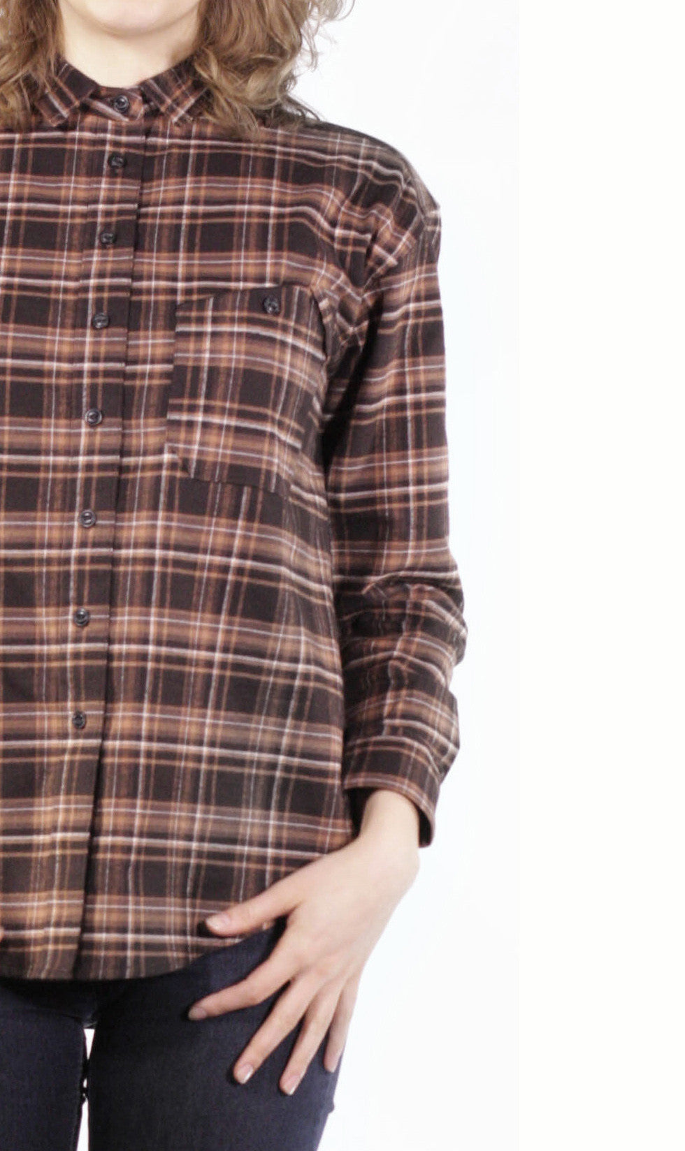 Front close up view of vintage inspired women's plaid shirt, made in Canada.