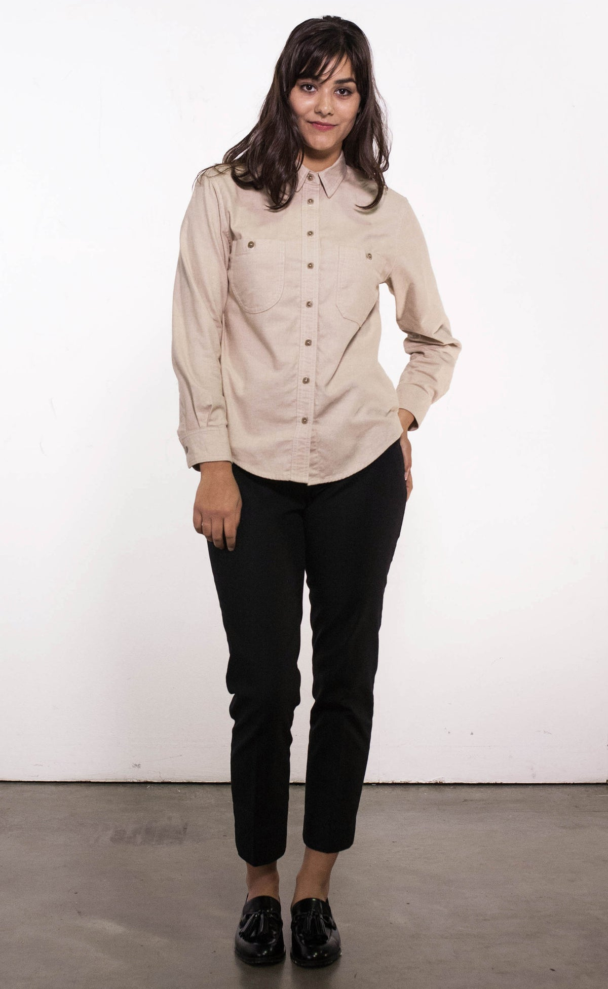 Front view of vintage inspired women's beige brushed cotton shirt, made in Canada.