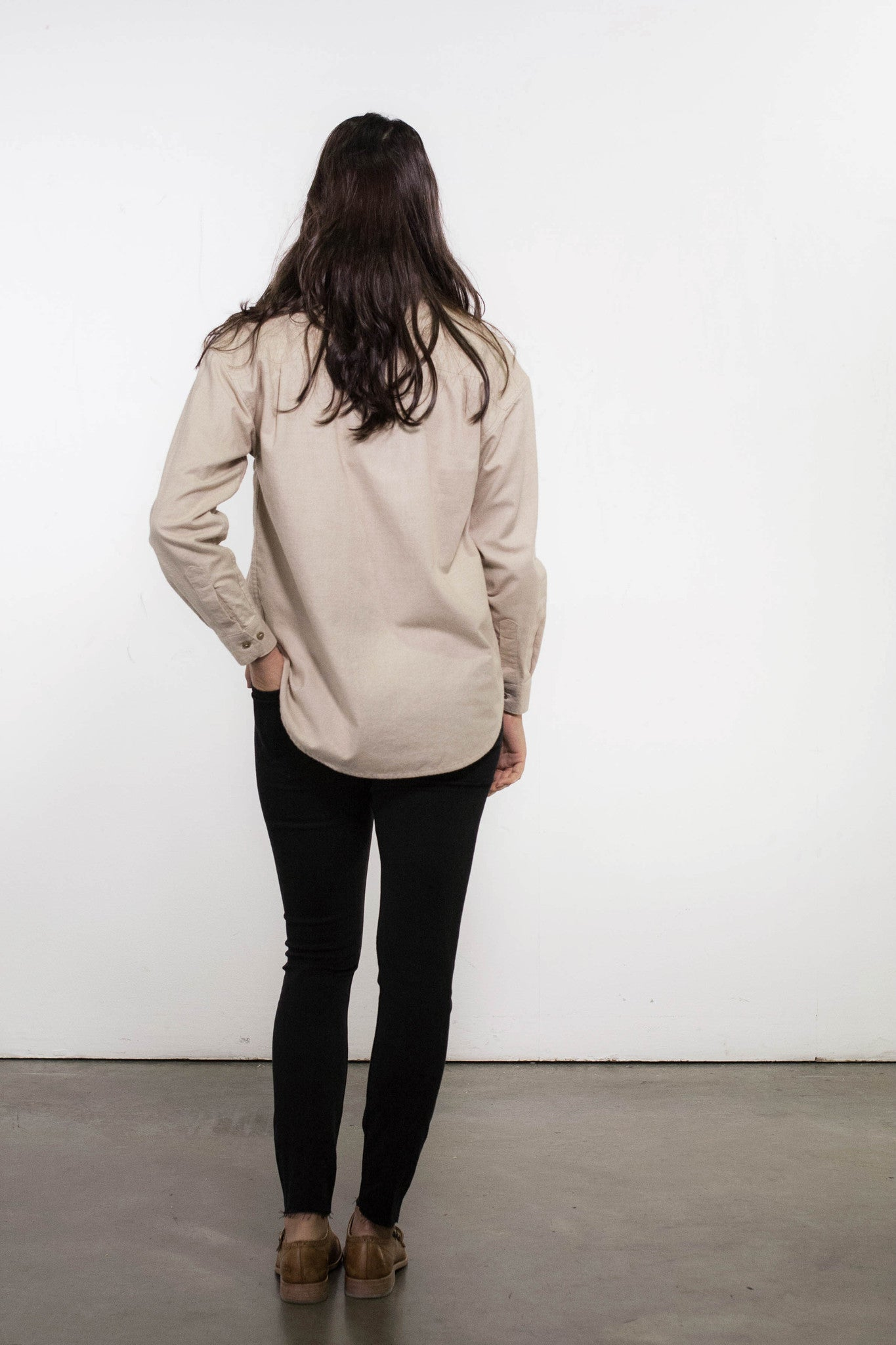 Back view of vintage inspired women's tan brushed cotton shirt, made in Canada.