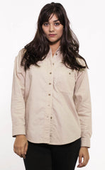 Front view of vintage inspired women's tan brushed cotton shirt, made in Canada.