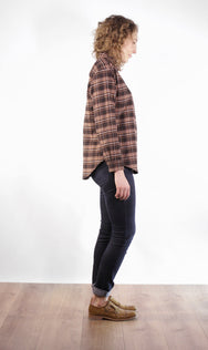 Side view of vintage inspired women's plaid shirt, made in Canada.