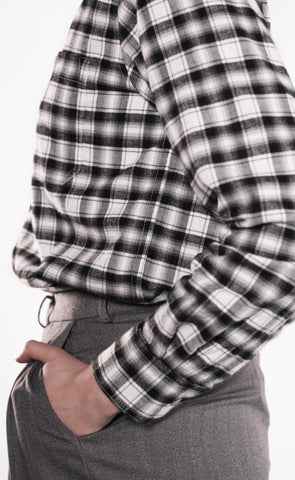 Women's Proper Fit - Double Brushed Twill - Black + White Plaid