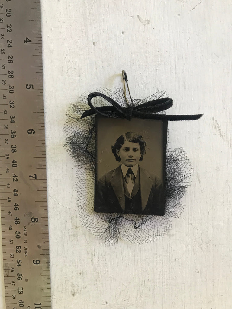 Thick Hair Tintype Pin