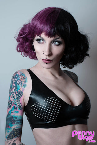 Miss Tea - Purple & Black Split Tone Curly Full Wig
