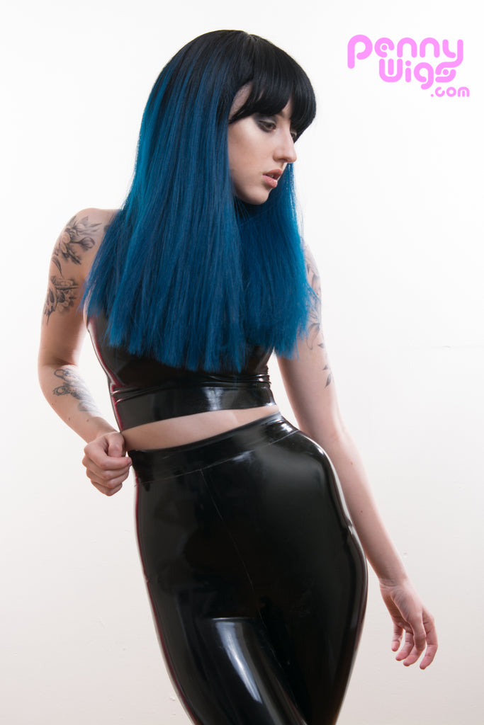 Kailee- Ombre Black/Blue Straight Long Full Wig - Penny Dreads & Wigs