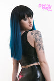 side of kailee ombre blue long wig