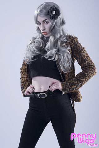 Lady D Silver - Long Wavy Full Wig