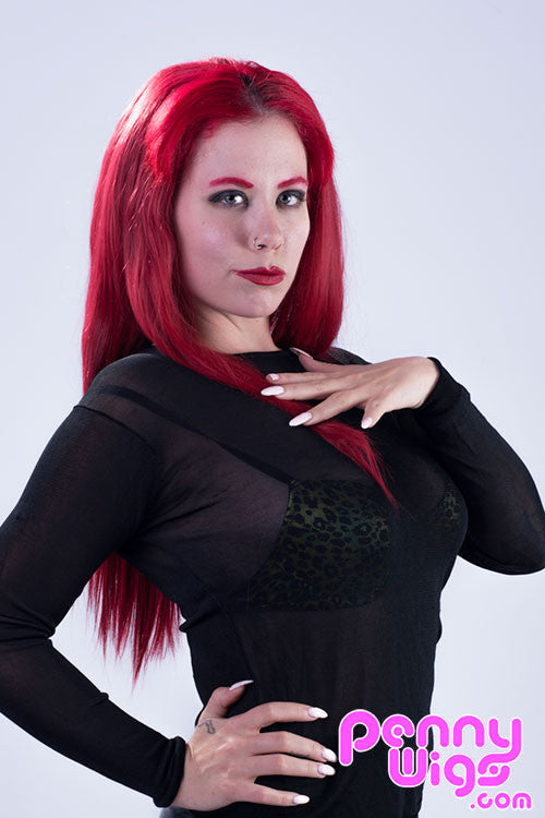 Deanna Deadly wearing long straight red invisible u-part wig extension