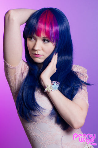 T. Spark - Dark Blue/Pink/Purple Long Straight Wig & Tail
