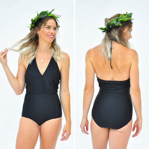 The Classic Black Cross Over One-Piece  Swimsuit