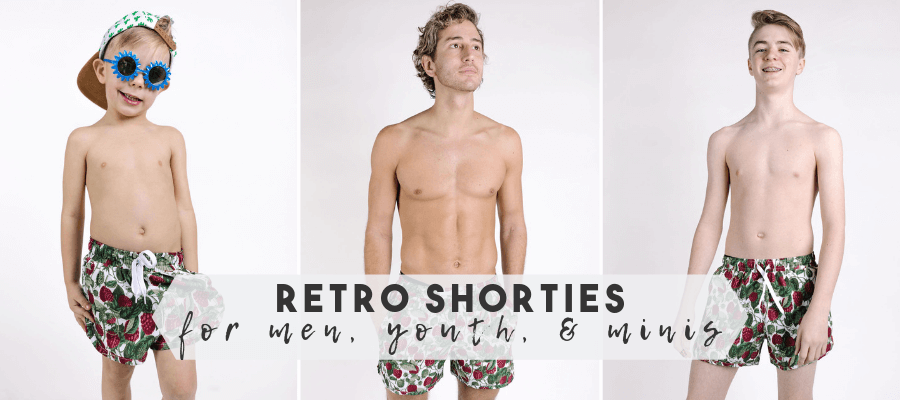 Kortni Jeane Retro shorts for men youth and minis