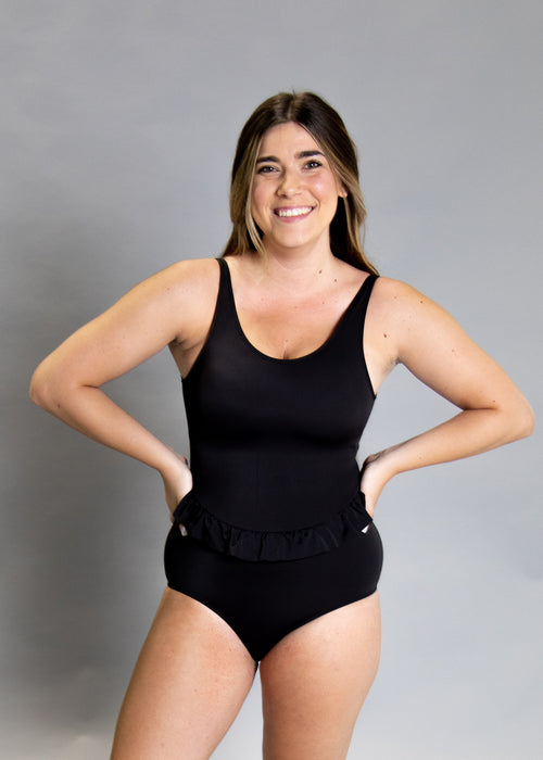 Skirted One-Piece | Solid Black
