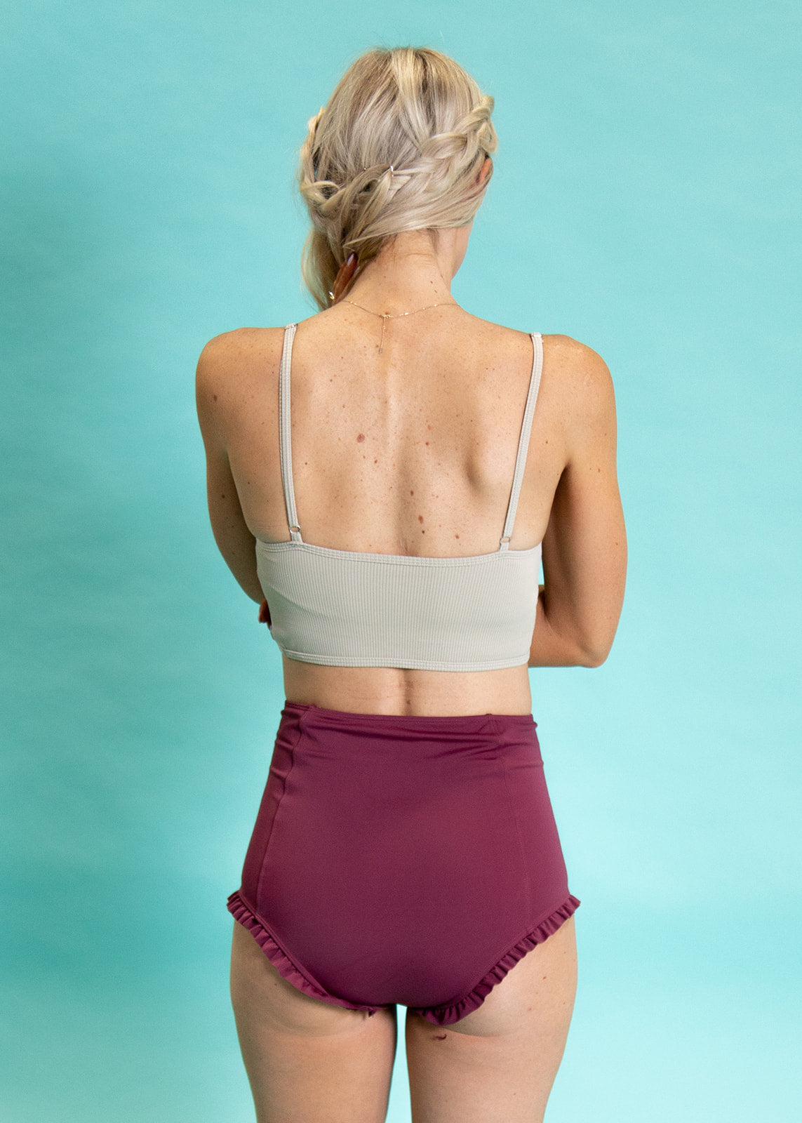 Crop Top Swimsuit - Ribbed Warm Taupe