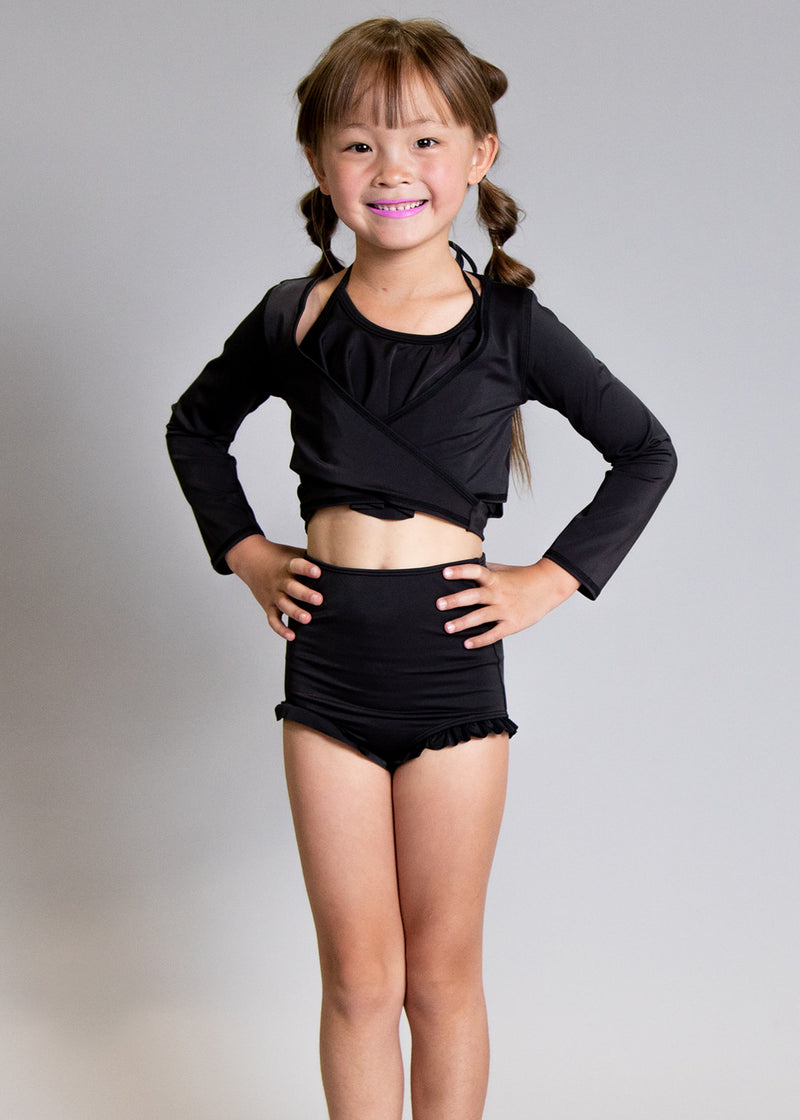 Girls Swimsuit Rashguard Crop Top - Black
