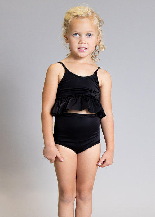 Girls High-Waisted Swimsuit Bottoms - Black
