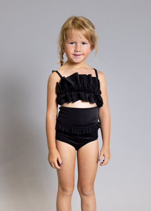 Girls Crop Top Swimsuit - Black