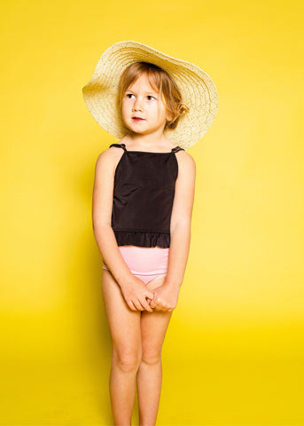 Youth Skirted One-Piece | Solid Black