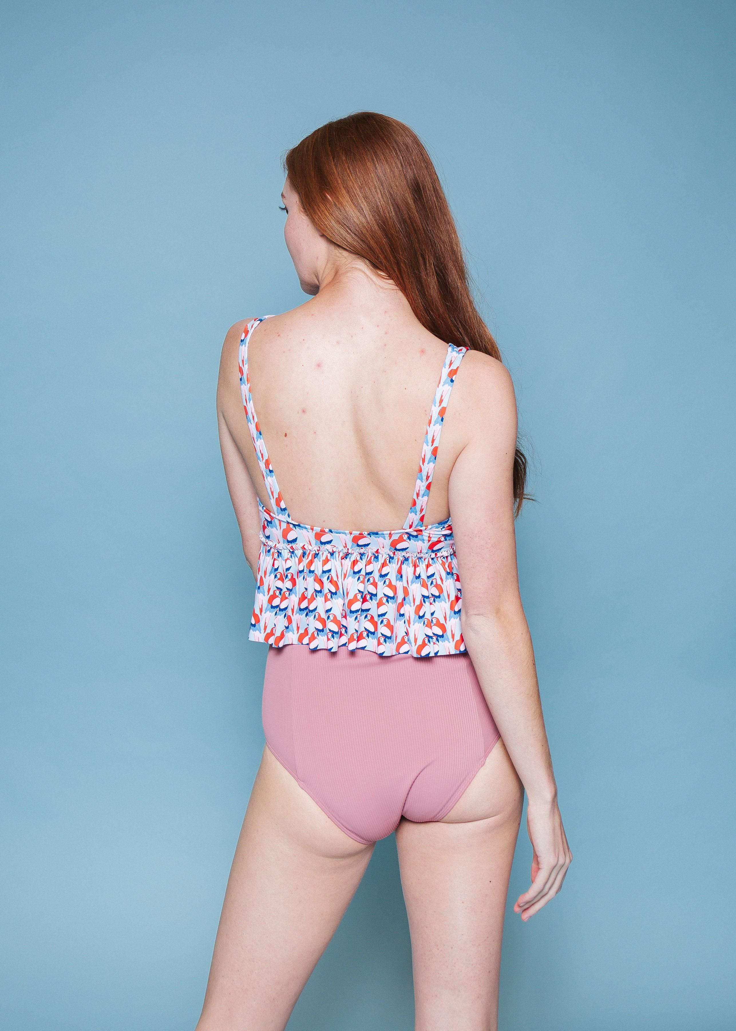 High-Waisted Swimsuit Bottom - Ribbed Rose