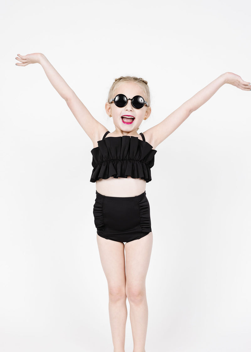 Mini Down in Front Ruffle Bottoms | Solid Black