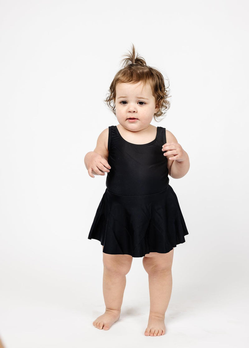 Baby Skirted One-Piece | Solid Black