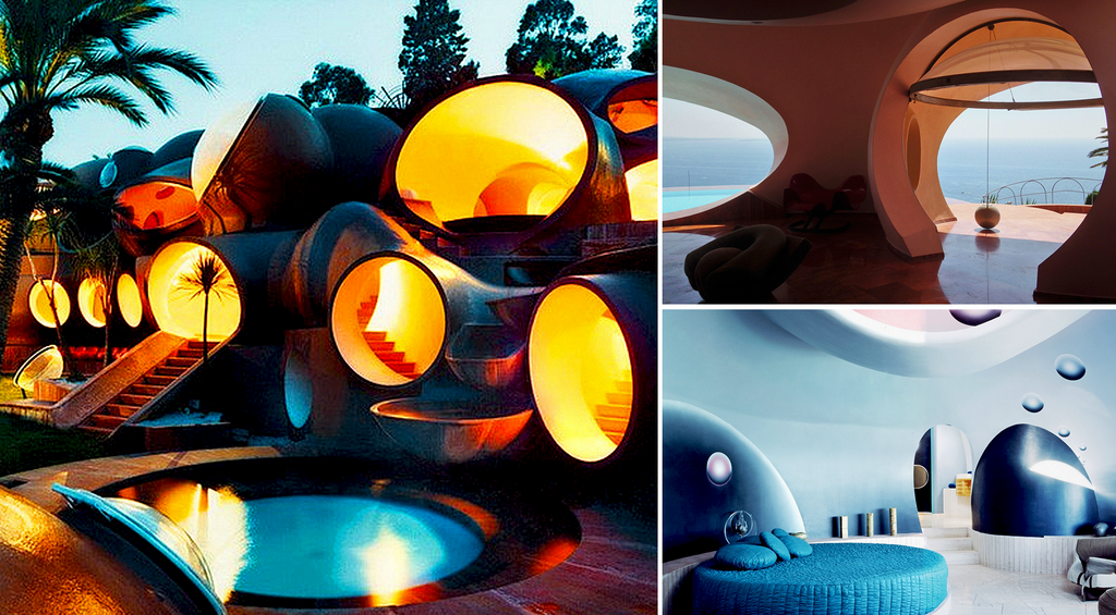 Palais Bulles by Antti Lovag (FR)-in the dark + inside suite