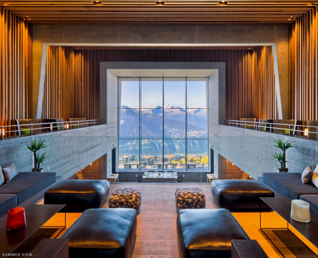 Chetzeron design Hotel, Cran Montana-large view's summer-as seen on PARIDEO sustainable interior design