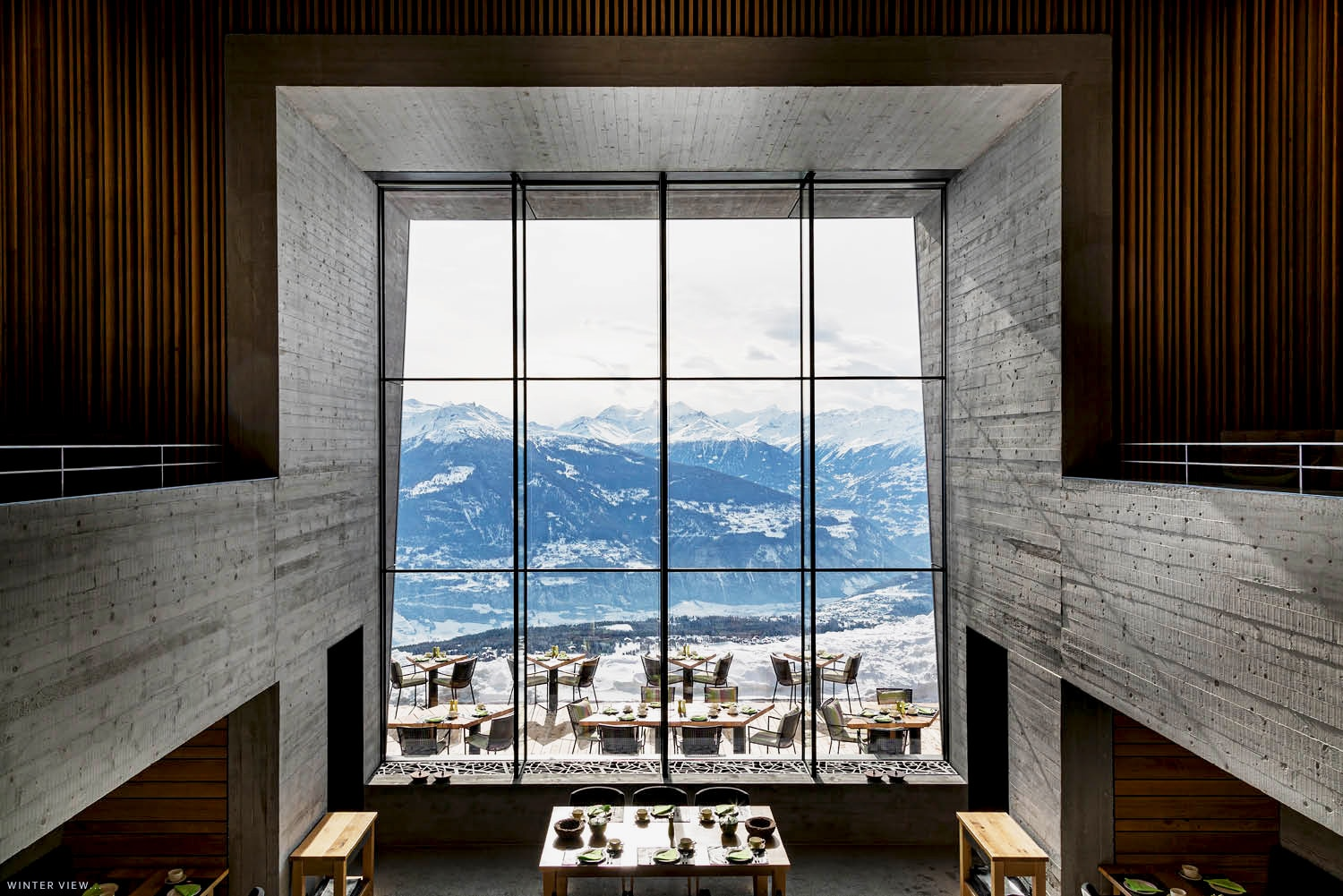 Chetzeron design Hotel, Cran Montana-large view's winter-as seen on PARIDEO sustainable interior design