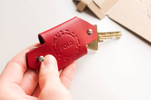 Porte-clefs cuir vegetal rouge PARIDEO design durable