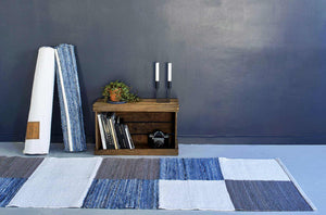 Tapis 100% jeans recyclé-patchwork 3 couleurs-80x240cm-en vente sur PARIDEO-design durable