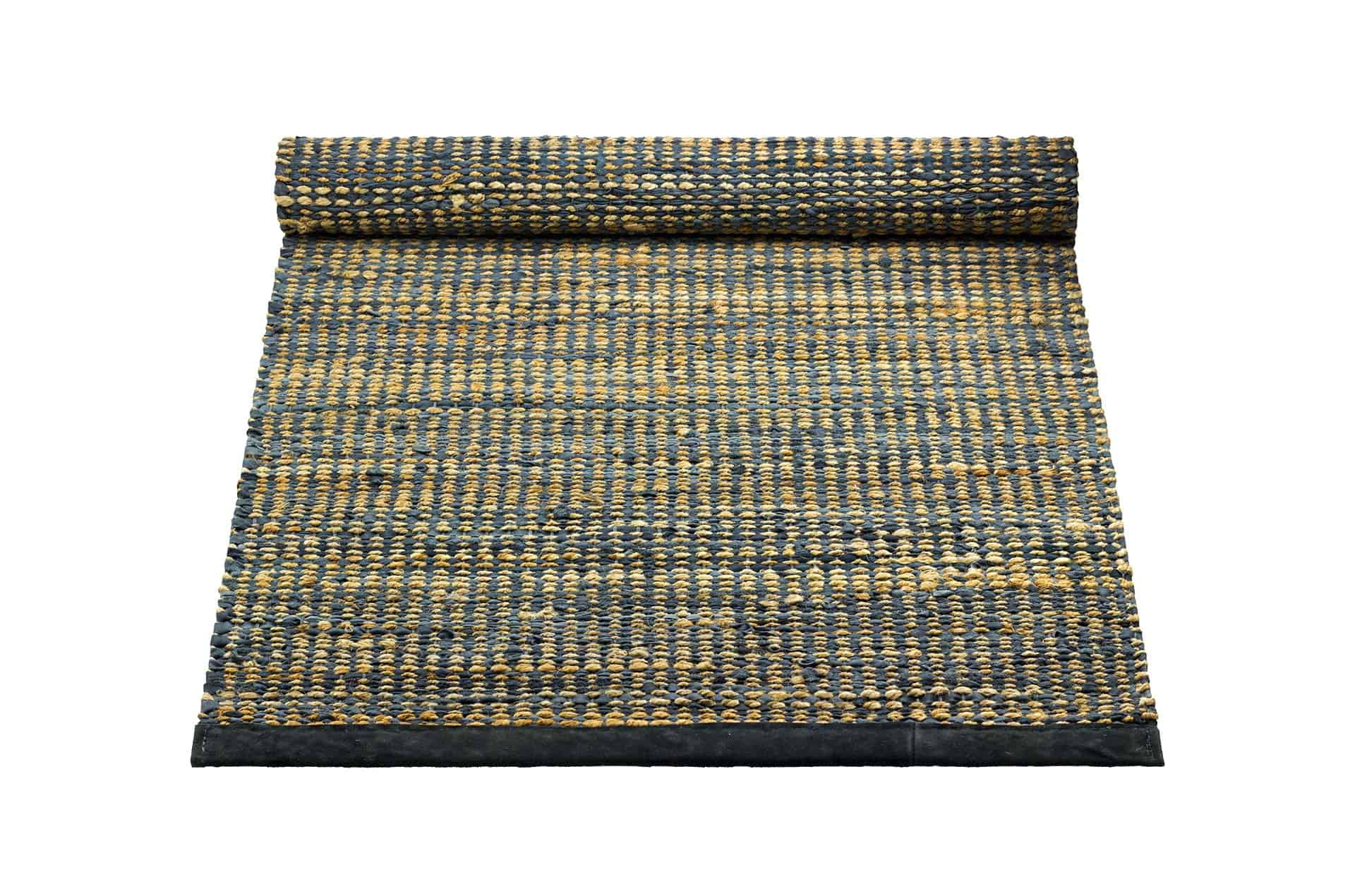 Tapis graphite 100% jute-cuir recyclé by Rugsolid-PARIDEO design contemporain durable