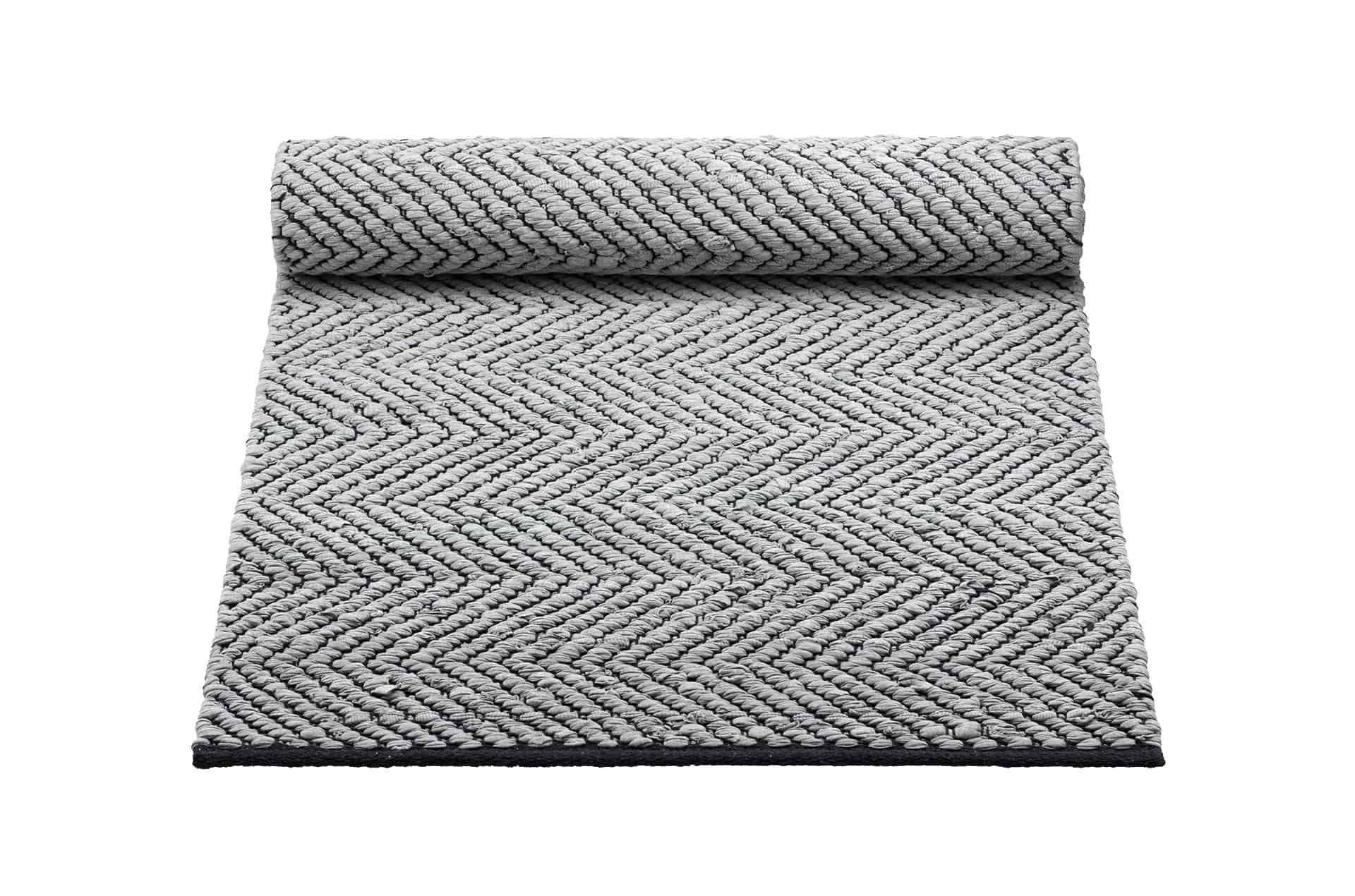 Tapis gris-noir 100% coton rain recyclé by Rugsolid-PARIDEO design contemporain durable