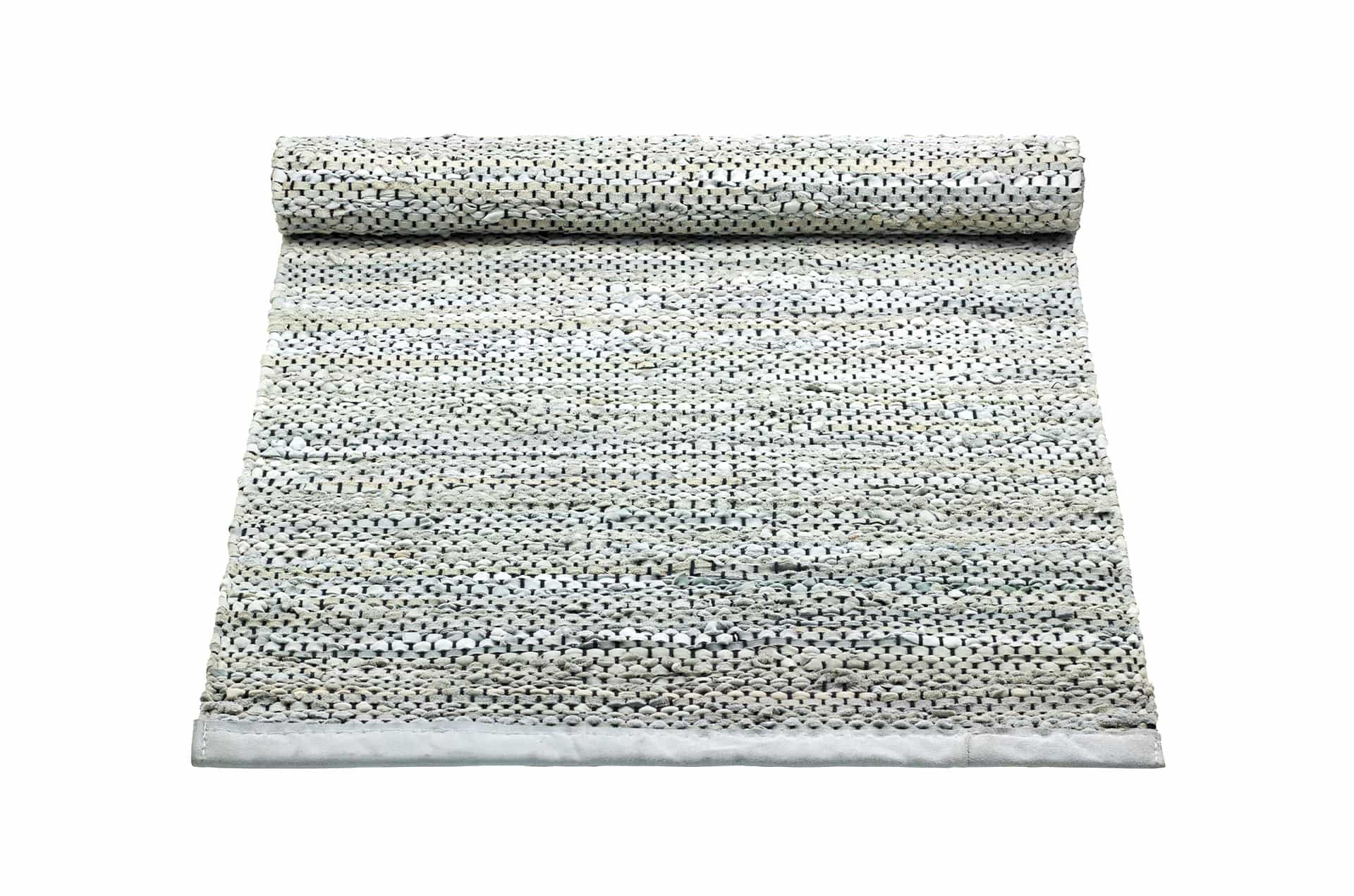 Tapis gris clair 100% cuir recyclé by Rugsolid- PARIDEO design contemporain durable