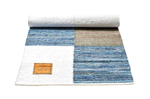 Tapis patchwork 100% jeans recyclé-80x240cm-en vente sur PARIDEO-design durable