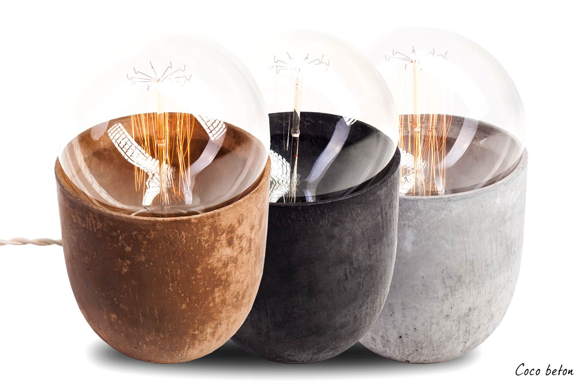lampe de table Coco béton 3 modèles by Mickaël Koska-en vente sur PARIDEO design durable
