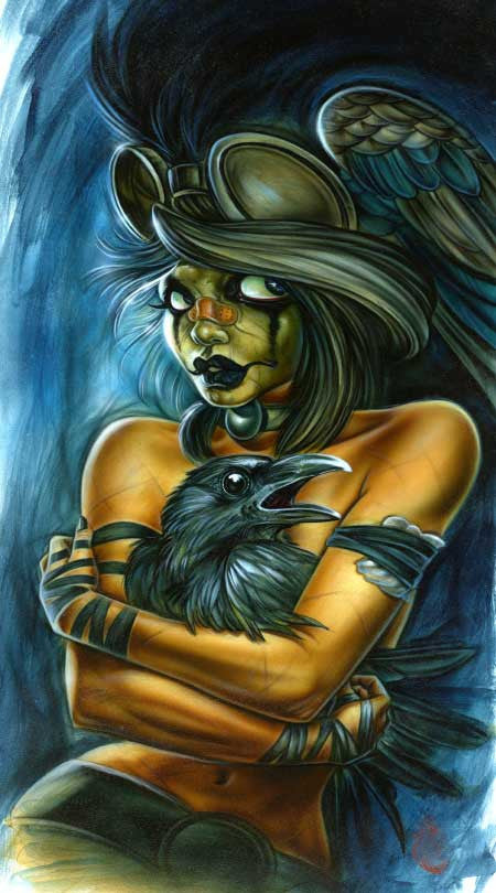 "Card Art ""Crow Gal"" by Joe Capobianco"